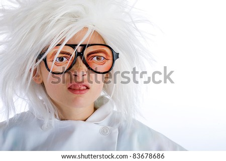 A weird looking kid with creepy eye, novelty glasses. - stock photo