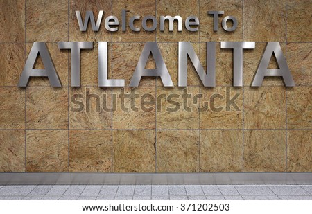 A Welcome to Atlanta sign in the Atlanta airport. - stock photo