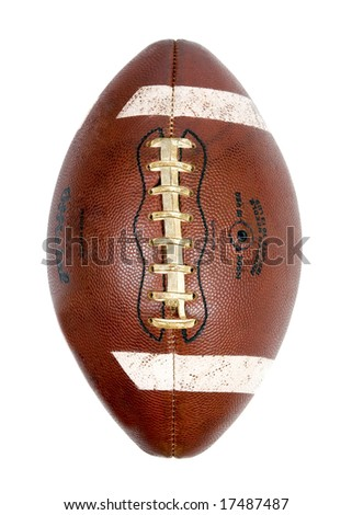 A well used football , Isolated on white. - stock photo