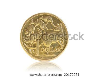 A well worn Australian dollar, isolated on white. - stock photo