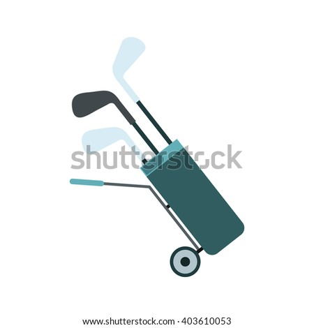 A wheeled golf bag full of golf clubs flat icon  - stock photo