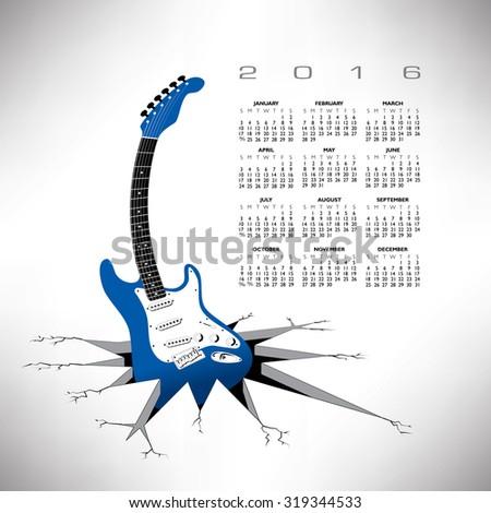 A 2016, whimsical, funky guitar calendar - stock photo