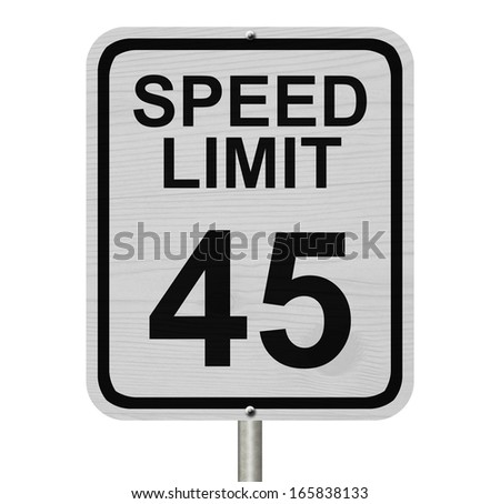 A white American road sign with words Speed Limit and 45 isolated over white, Speed Limit 45 Sign - stock photo