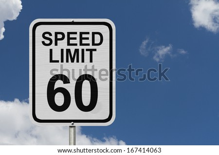 A white American road sign with words Speed Limit and 60 with sky background, Speed Limit 60 Sign - stock photo