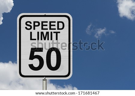 A white American road sign with words Speed Limit and 50 with sky background, Speed Limit 50 Sign - stock photo