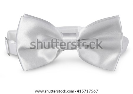 A white bow Tie, isolated on white background - stock photo