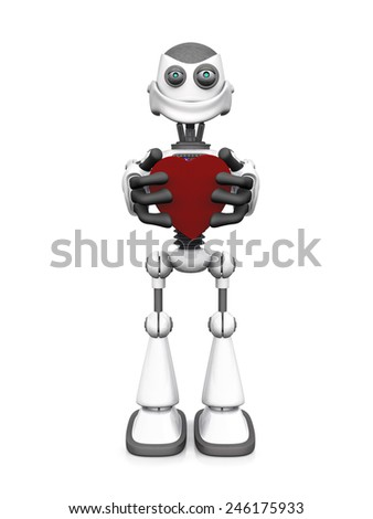 A white cartoon robot holding a big red heart and smiling. White background. - stock photo