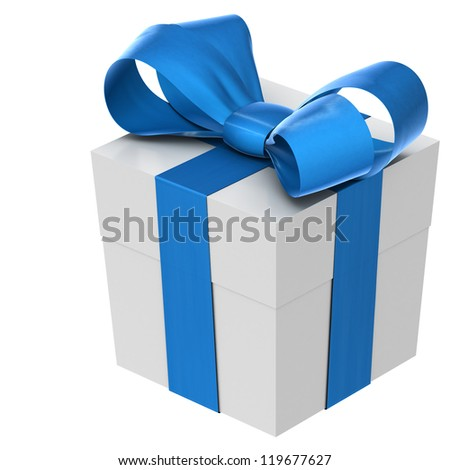 A white christmas present with a blue bow. Isolated on a white background - stock photo