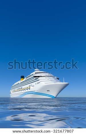 A white cruise ship in front of the clear blue sky - stock photo