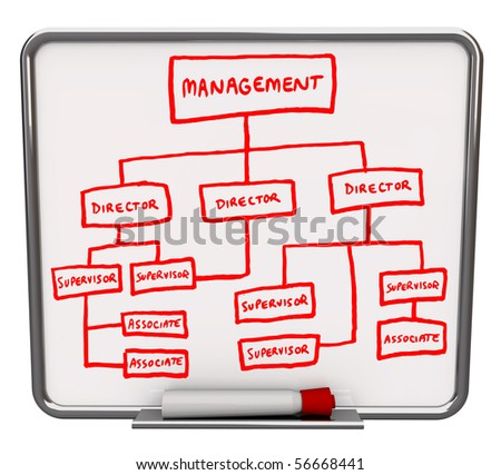 A white dry erase board with an org chart drawn onto it - stock photo