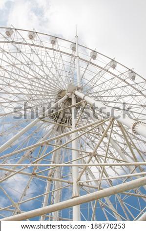 a white ferris wheel in Sky Ranch, Tagaytay - stock photo