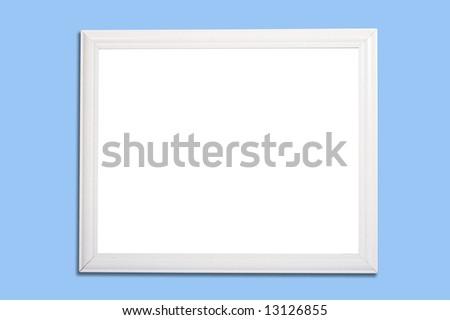 A white frame on blue background with  two clipping paths, to remove the frame from the shadow and to change the inside of the frame - stock photo