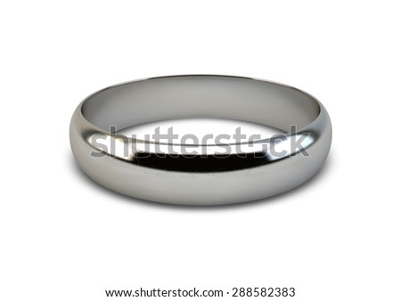 A white gold wedding ring resting on an isolated white background - stock photo