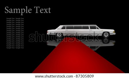 A White limousine with a red carpet isolated on black background 3d illustration. high resolution - stock photo