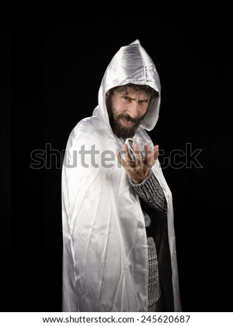 a white medieval magician - stock photo