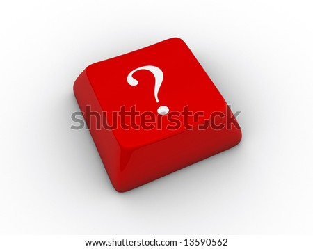 A white question mark on a red keyboard - 3d render - stock photo