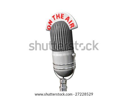 A white retro antique microphone. - stock photo