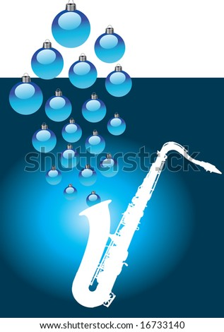 A white sax with Christmas baubles coming out of it. - stock photo