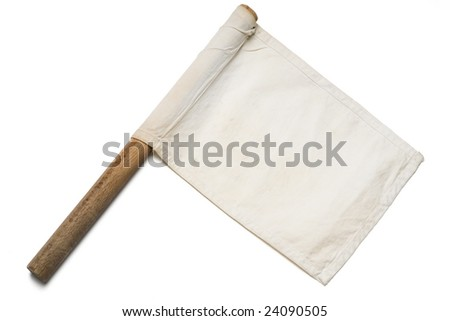 a white signaling flag on white - stock photo