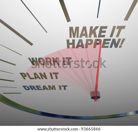 A white speedometer background with words representing steps to achieving success - Dream, Plan, Work, Make it Happen - stock photo