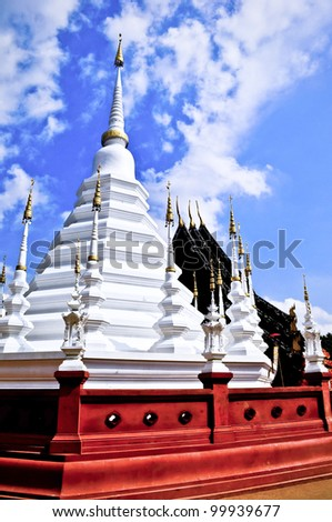 A white temple or wat in Chiang Mai, Thailand - stock photo