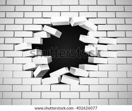 A white wall being smashed or breaking apart - stock photo
