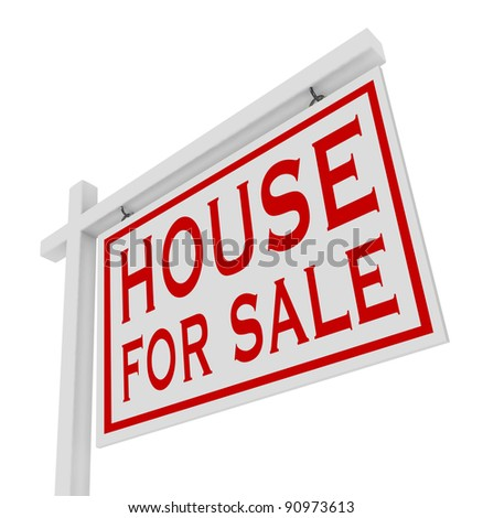 A white, wooden house for sale sign for placing outside a home that has been put on the real estate market and is looking for a buyer so the owners may sell and move - stock photo
