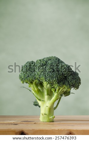 A whole head of raw broccoli on a wood plank table, standing upright on stem against a green background with copy space above. - stock photo