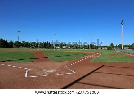 A wide angle shot of a baseball field.  - stock photo