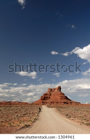 """A wide angle view of a sandstone buttes in Utah's """"Valley of the Gods"""" - stock photo"""