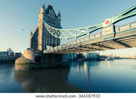 A wide shot of tower bridge from the east side. - stock photo
