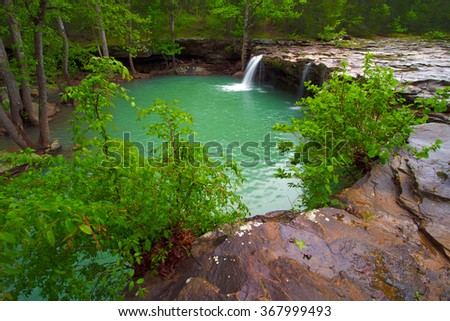 A wide view of Falling Water Falls is located on Falling Water Creek in Arkansas - stock photo