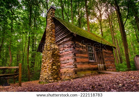 A wild style living cabin in the jungle. Scene from summer in Maryland , USA. Showing how was people in the old time living with the nature. /The Little Cabin - stock photo