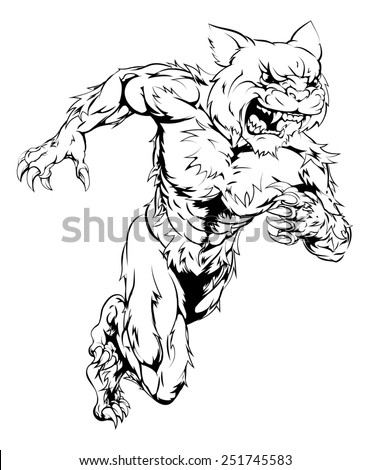 A wildcat man character or sports mascot charging, sprinting or running - stock photo