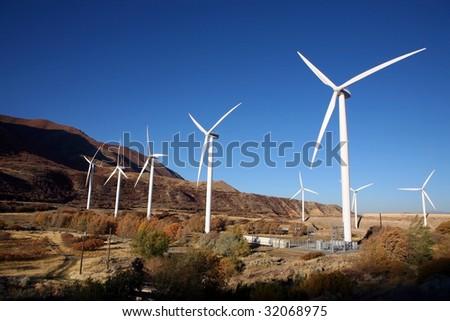 A Wind Turbine on a Windfarm - stock photo
