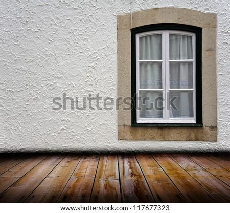 A window in an old grunge room - stock photo