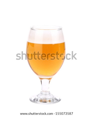 A wine goblet of beer located on the white background - stock photo