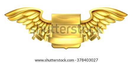A winged gold golden metal shield heraldic heraldry coat of arms design with a banner scroll - stock photo
