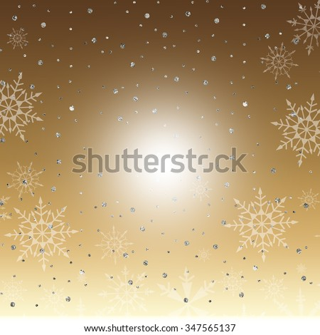 A winter background with silver sparkles and snowflakes on gold gradient background. - stock photo