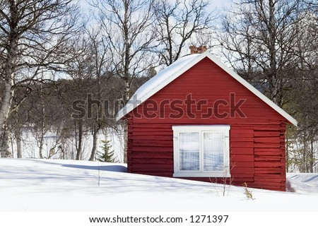 A winter cabin in winter scene - stock photo