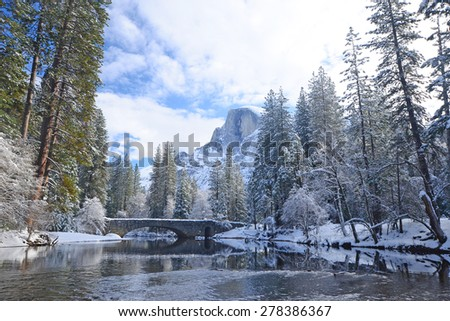 a winter scene with reflection at yosemite national park - stock photo