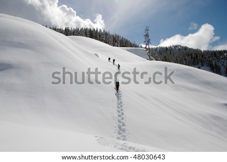 A winter snow shoe hiking view near Whistler, BC, Canada. - stock photo