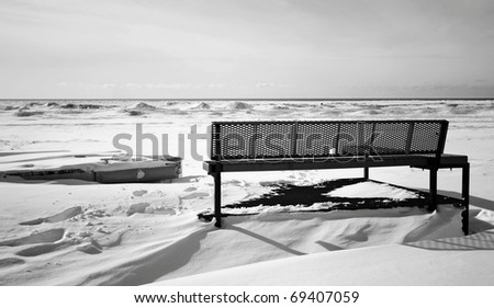 a winter view at the beach - stock photo