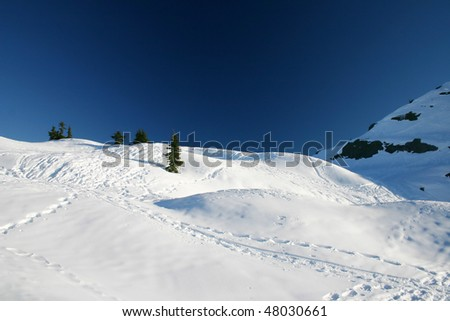 A winter view of snow peak. - stock photo