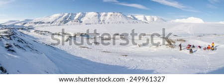 A winter wilderness - mountainous landscape on the island of Spitsbergen, Svalbard, Norway  - stock photo