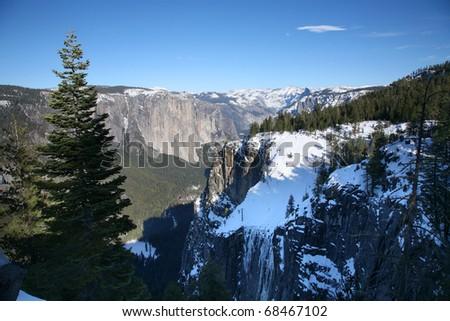 A winters day above Yosemite Valley. Yosemite National Park, California, USA. - stock photo