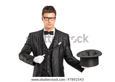 A wizard holding a magic wand and empty top hat isolated on white background - stock photo