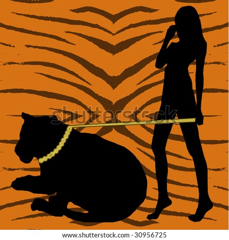 A woman and tiger in silhouette on a tiger pattern background. - stock photo