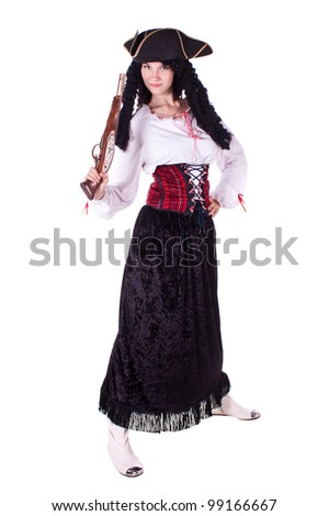 A woman dressed as a pirate, pistol and saber. White background. Studio photography. - stock photo