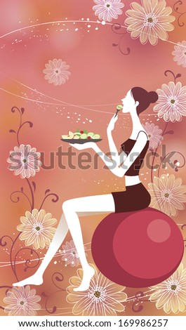 A woman eating while sitting on an exercise ball - stock photo